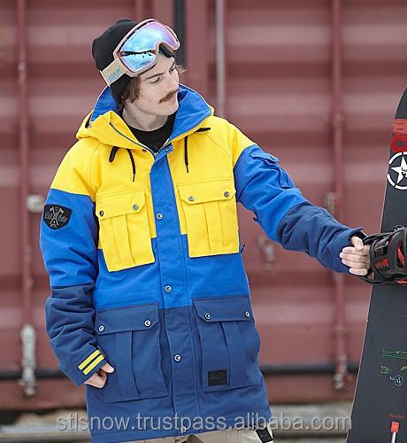 2014/2015 High quality waterproof 20000mm ski & snowboard jacket, Opera Yellow/Blue/Navy