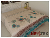 embroidery patchwork comforter set ocean blue luxury European bedding sets