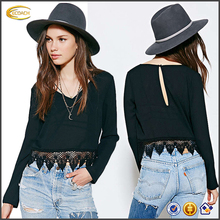 Ecoach Wholesale OEM women Black Sexy Low V Neck Tops With Crochet Lace Hem Blouse And Hollow Back Cropped Top