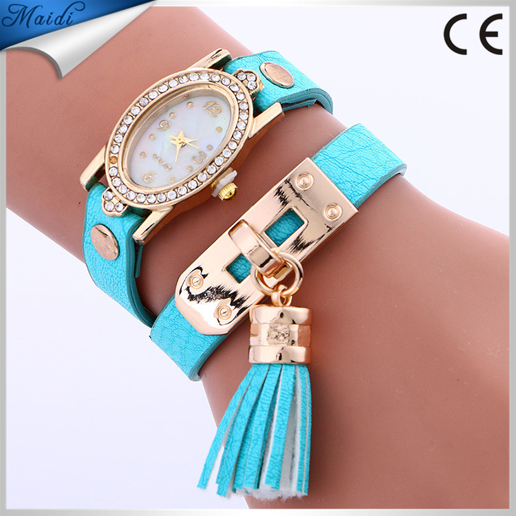 Ladies Fashion Luxury Gold Bracelet Watch Women Square Diamond Quartz Wristwatch Tassel Dress WW137