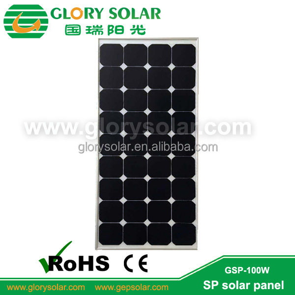 Tent Yacht RV Roof Use Monocrystalline Solar Panel 100W Solar PV Module 100WP