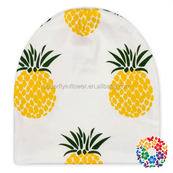 fancy green yellow pineapple print hats for girl