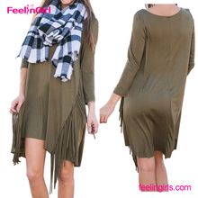 Latest Designs ArmyGreen Tassel One Piece Shirt Autumn Dress For Fat Girls