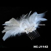 White Feather Hair Comb Fascinator