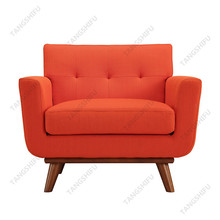 Home furniture cherry rubber wood legs unique armchair atomic red single seater sofa chair