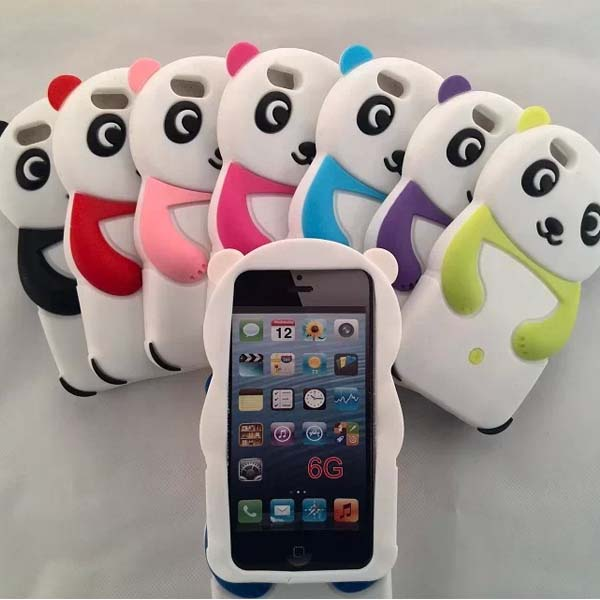 3d panda pattern cute silicone case for iphone 6