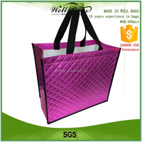 custom pink Diamond lattice pattern textured embossed shiny laser non woven reusable shopping tote bag