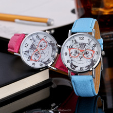 New Arrival Women Glass Cat Watch Leather Quartz Teenage Fashion Vogue Ladies Watch