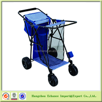 Outdoor Folding metal wagon food trolley beach cart with Cooler