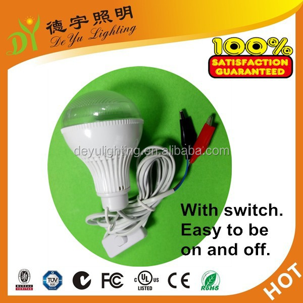 DC12V 3W led bulb solar power cheap 3w led global bulb SMD5730 with 3m wire and switch and chips hot sales to Africa