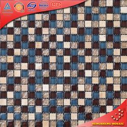 KS48 Blue And Brown Glass Mix Stone Mosaic Broken Tile Marble Mosaic Cutting Machines
