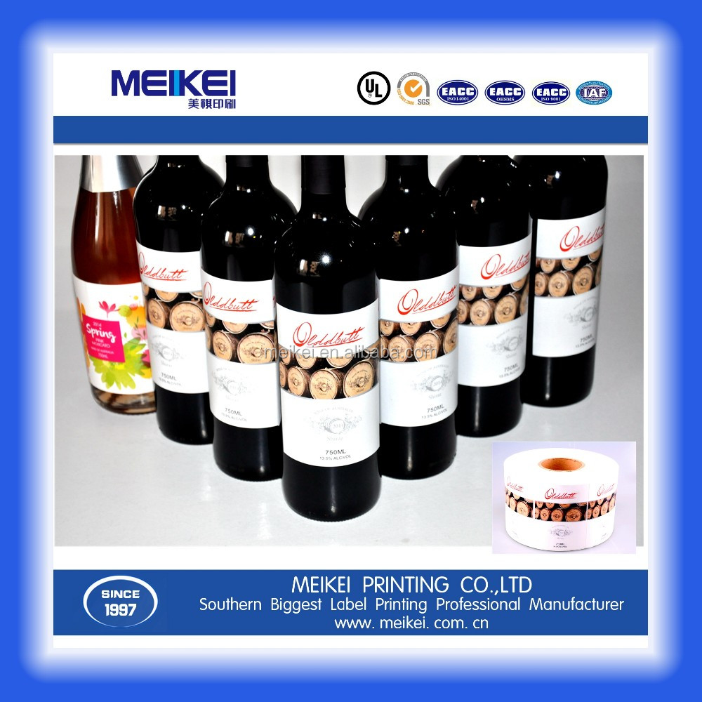 Printing glass Lables sticker for red wine