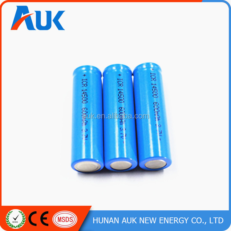 CE ROHS Passed 3.7v 750mah aa 14500 Lithium ion Battery With Top Quality