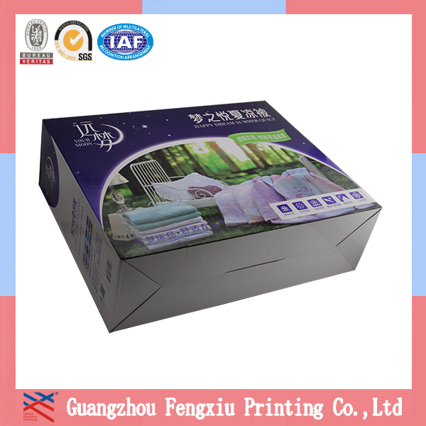 Cardboard Bottom Bedding Packaging Box with Handle