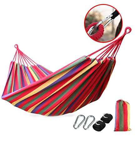 Outdoor Portable Camping Travel Hammock Cotton Fabric Swing Bed Canvas Stripe With Bag