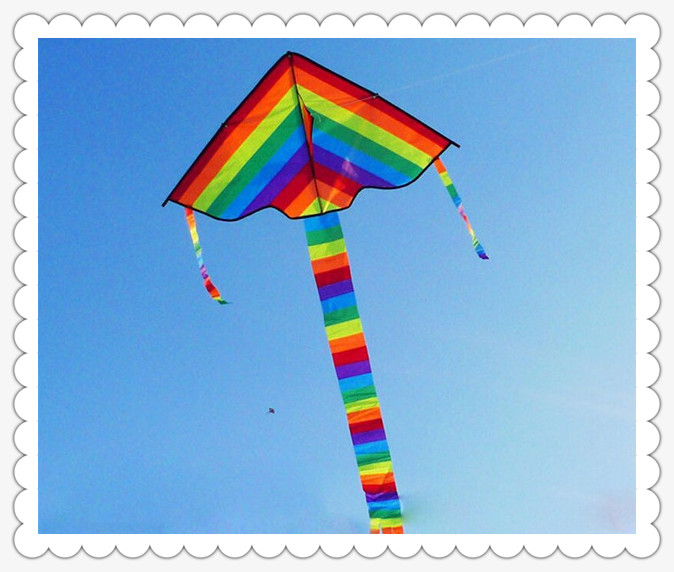 Triangle Rainbow Kite Outdoor Fun Sports Kite Factory Children Triangle Colorful Kite Easy To Fly without String Flying Tools