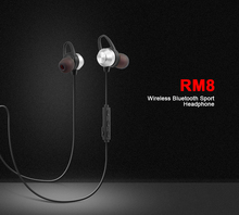 High Quality Rohs Bluetooth Headset Manual Stereo Headphone Sweatproof Wireless With Talk Remote RM8