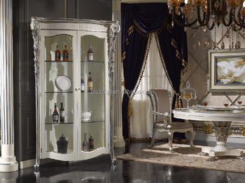 Rome Style Corner Vitrine Two Doors Display Cabinet, Fine Carved Corbel Decorated Dining Room Wine Display Cabinet