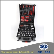 High quality chrome vanadium 186pcs household hand tool set with aluminium case