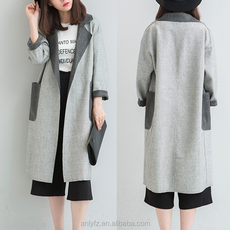 Anly hot sell fashion winter elegant loose grey double woolen coats women