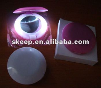 High quality small round pocket mirror with led light with colourful finish/make up mirror/folding mirror