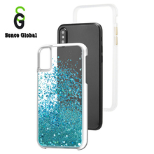 Customized liquid mobile phone case shiny flowing quicksand phone cover for iphone 10
