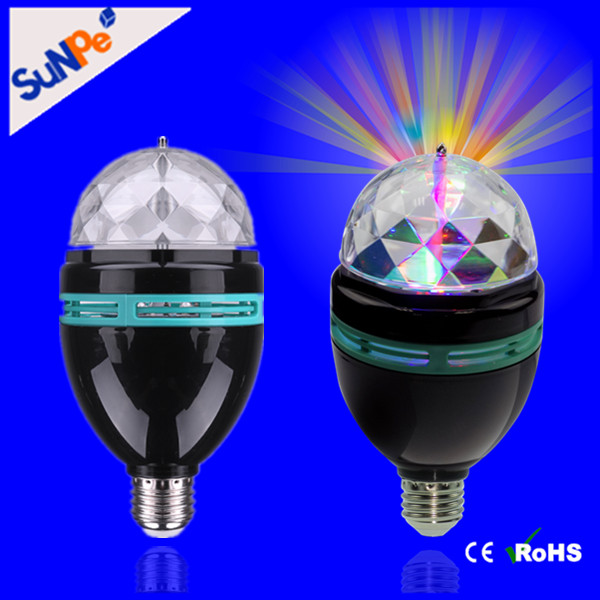RGB E27 Black Magic Ball Rotating Mini Led Decoration Stage Party Light Bulb Disco Lamp