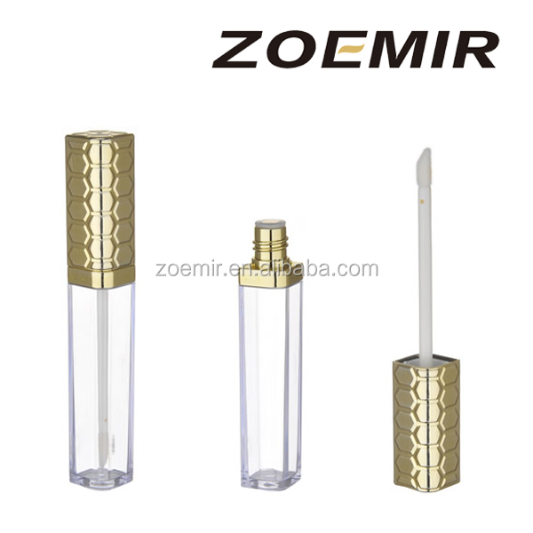 Customized square lip gloss tube lip gloss container, empty cosmetic lip gloss packaging