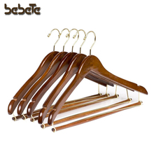 Wooden Hangers Beautiful Sturdy Suit Coat Hangers with Locking Bar Gold Hooks (5 PACK)