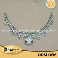 Chinese factory owl ornament beaded collar neck embroidery designs for kurtis
