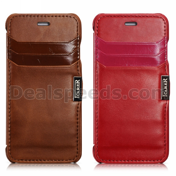 Icarer Card Slot Vintage Series Genuine Leather Flip Case for iPhone 6 4.7 inch