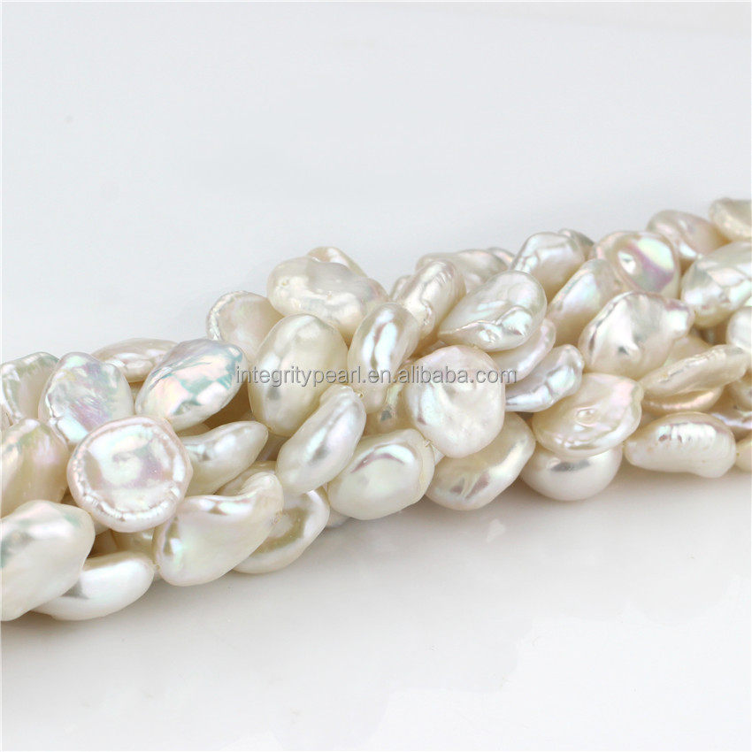 13mm AA white keshi freshwater natural loose pearl strands