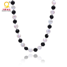 Fashion coin pearl strand necklace