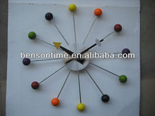 Color ball dial wall colock metal material clock