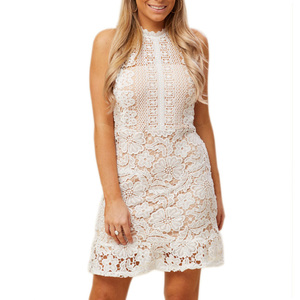 China Manufacturer Women Clothing Fitted Sleeveless Short White Lace Dress