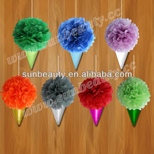 sunbeauty new design 17gsm tissue paper flower wedding stage backdrop decoration