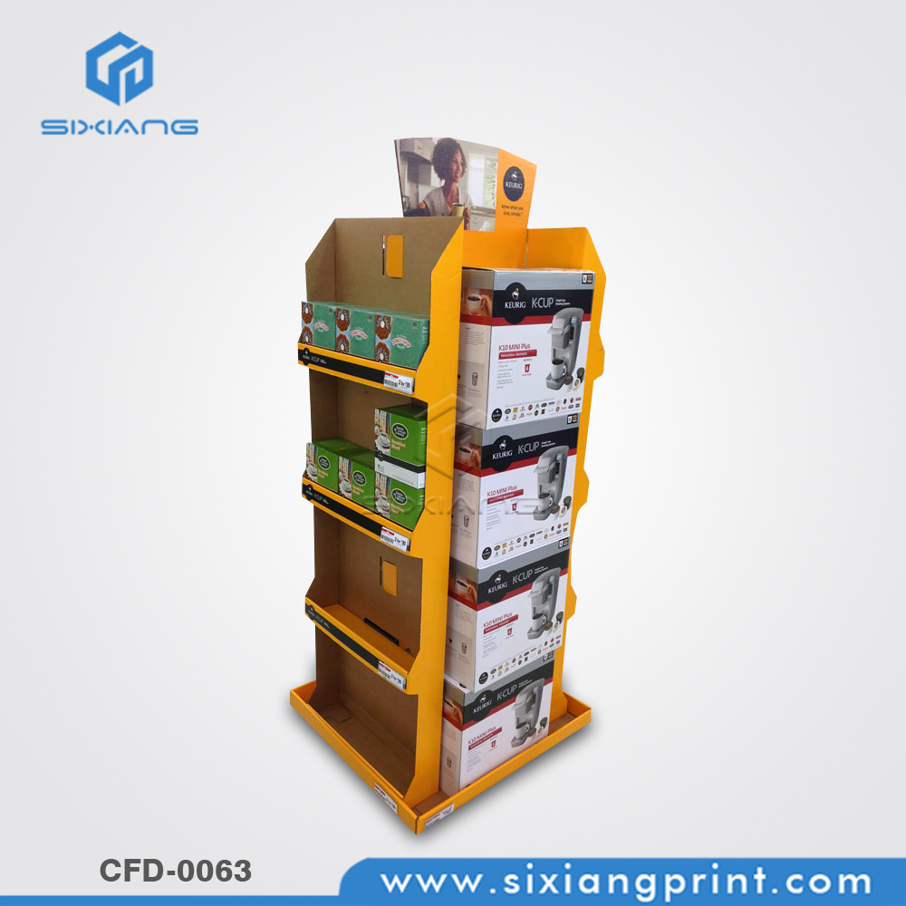 Full Color Printing Four Side Cardboard House Wares Corrugated Display Unit