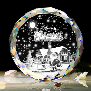 2016 New Design Home Decoration 3D Laser Engraved Crystal Christmas Ornaments Glass
