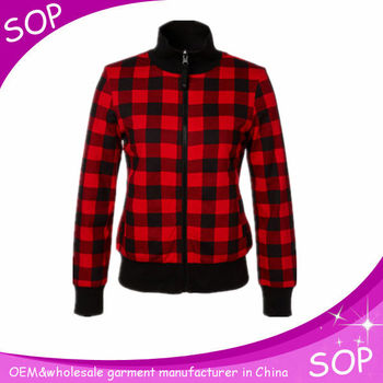 Red checked magnificent plaid zip up turtleneck kids hoodie