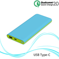 reasonable design slim powerbank 10000mah USB type-C and QC2.0