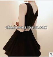 C50220S HOT SELLING FASHION BACKLESS PURE COLOR WOMAN'S DRESS