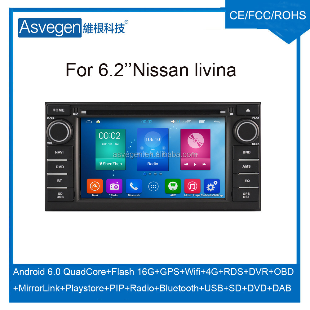 Wholesale Android Car DVD Player 6.2'' For Nissan Livina Navigation Car DVD GPS Support Playstore,4G,WIFI