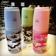Outdoor sports army green tumbler promotional custom logo printing drinking Borosilicate glass kids water bottle with screw cap
