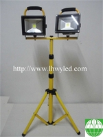Factory Price Outdoor 10W 20W 30W Two Heads LED Flood light with tripot IP65 hot sell