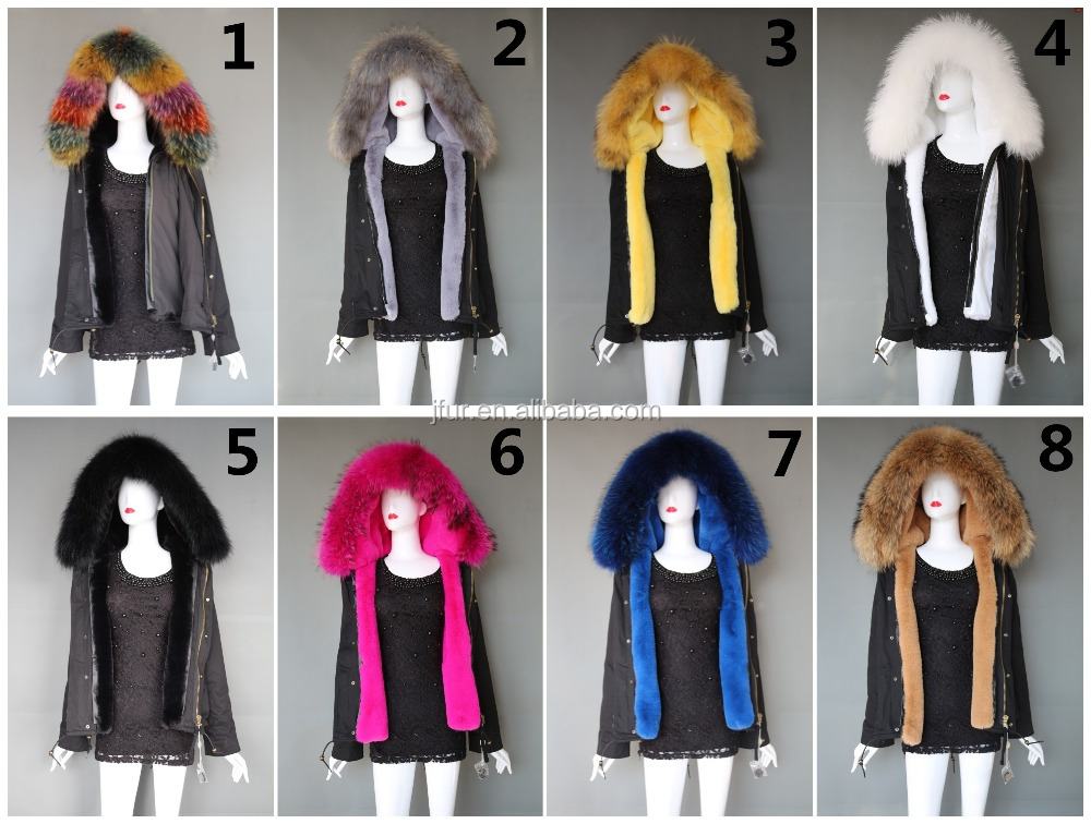 Leisure Style Black Coat Colorful Fur Collar Women's Winter Coat