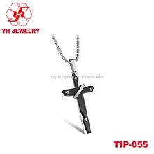 fashion cheap pendant jewelry 316L stainless steel pendant hammered cross bullet pendant