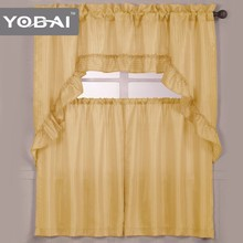 Custom Kitchen Cheap Chinese Style Fancy Jacquard Kitchen Curtain Design New Model
