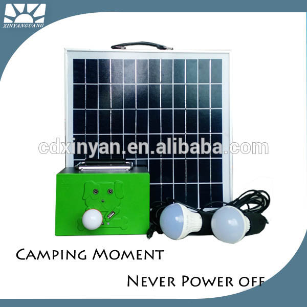 Small rechargeable 20w mini portable solar electricity generating power lighting system for home