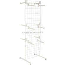 "Customized Floorstanding Metal Gridwall Floor Stand T-Shaped Base 12"" Faceouts White Clothing Rack"
