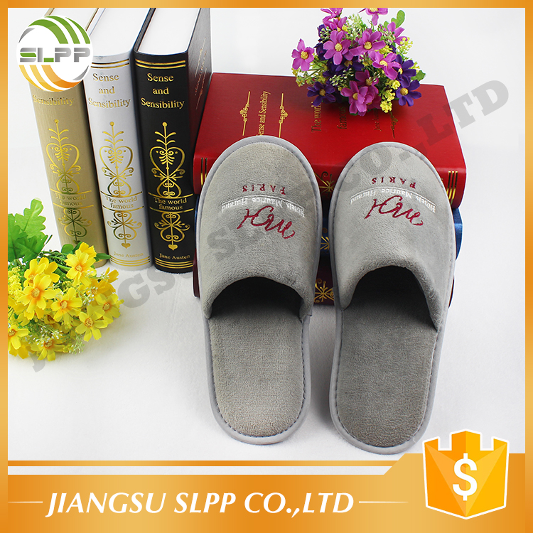 One time use EVA sole coral fabric hotel guest slippers for adults